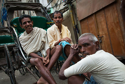 Rickshaw drivers in Kumartoli, Kolkata, India.