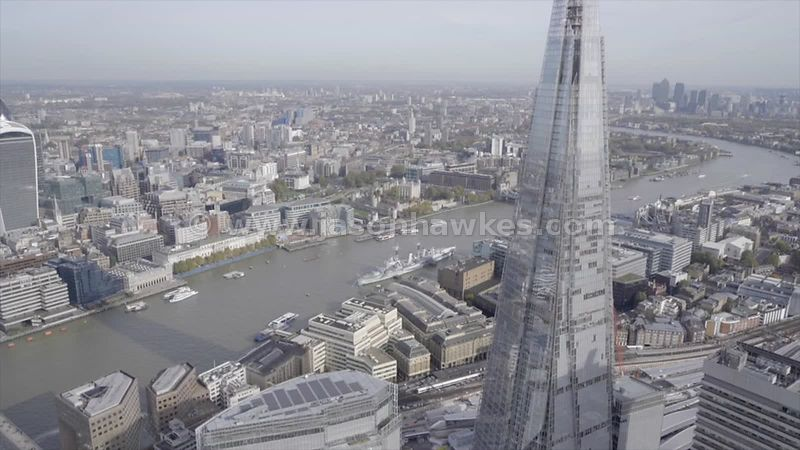 Aerial footage of The Shard, London