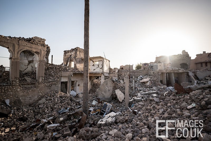 The old town of Sinjar City remains a rubble wasteland eighteen months after the destruction occured during airstrikes as the city was liberated from ISIS. Iraq, May 2017