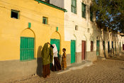 Girls outside their house, Berbera, Somaliland, Somalia