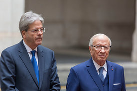 Paolo Gentiloni and president of Tunisia, Beji Caid Essebsi
