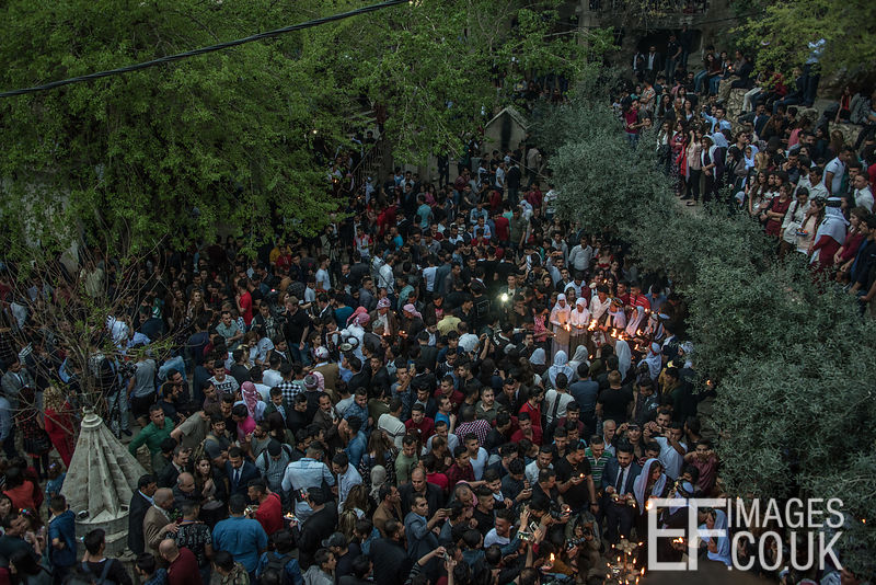 New Year crowds in the temple courtyard at Lalish - Iraqi Kurdistan, 18th April 2017