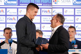 Vid Poteko and Sinisa Ostojic at the opening press conference during the Final Tournament - Final Four - SEHA - Gazprom league, Skopje, 12.04.2018, Mandatory Credit ©SEHA/ Uros Hocevar