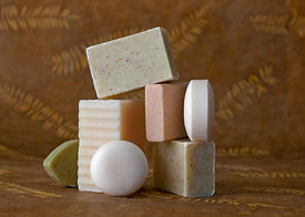 pile of natural soaps
