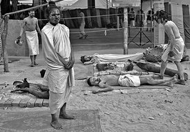 This portrait of the saints resting, was shot at the kumbh mela, Allahabad