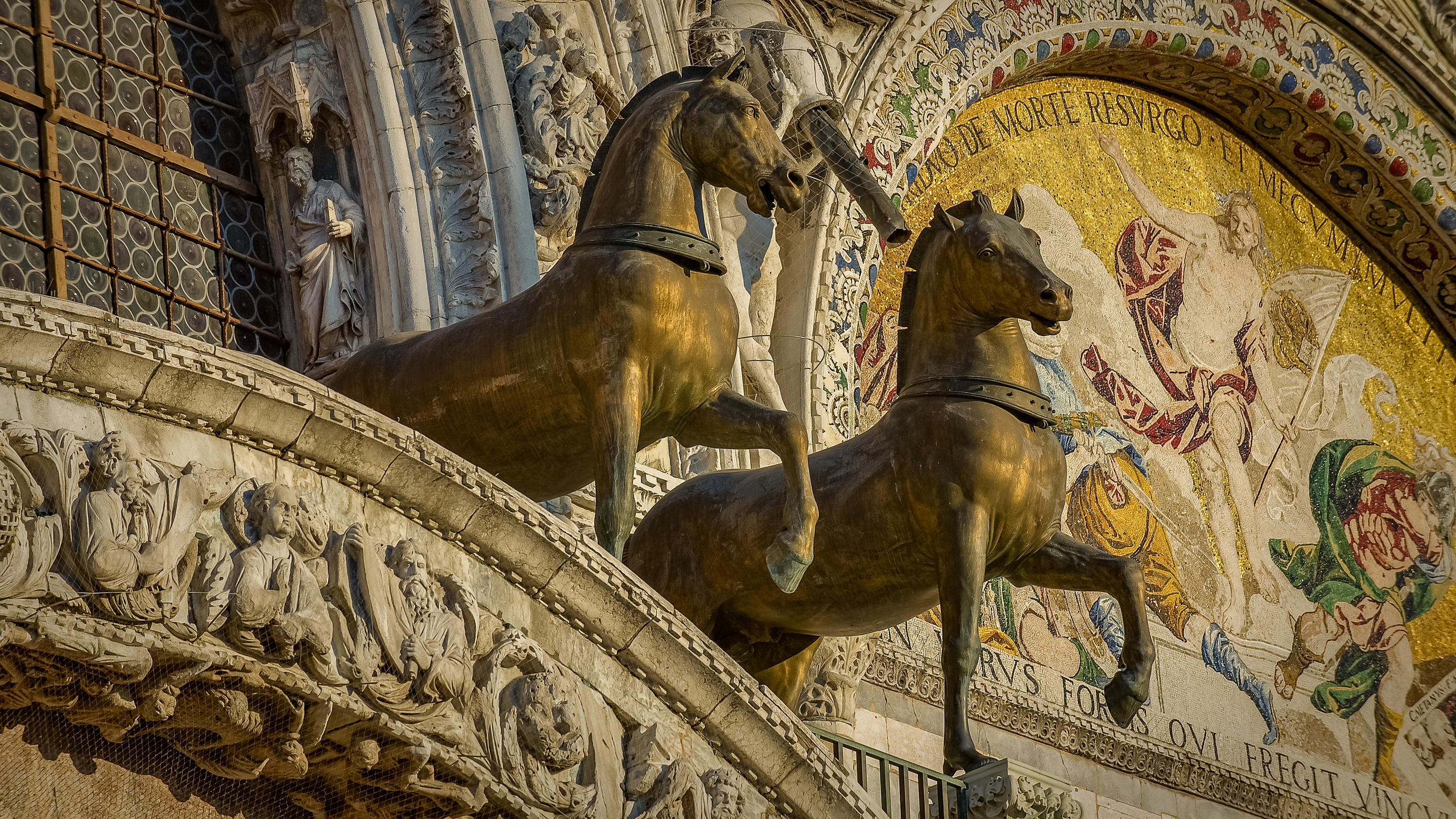 Two of the Four Horses of San Marco - Copies - on the Basilica in Venice