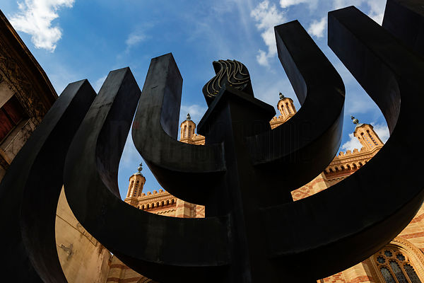 Giant Menorah in Front of Synagogue
