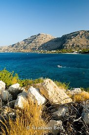 view of pefkos, lindos, rhodes, dodecanese islands, Greece.