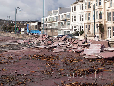 storm damage on the Penzance promenade