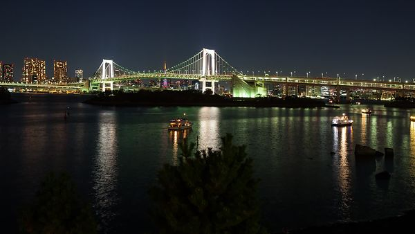 Wide Shot: Dinner Boats & The Rainbow Bridge, Tokyo Bay