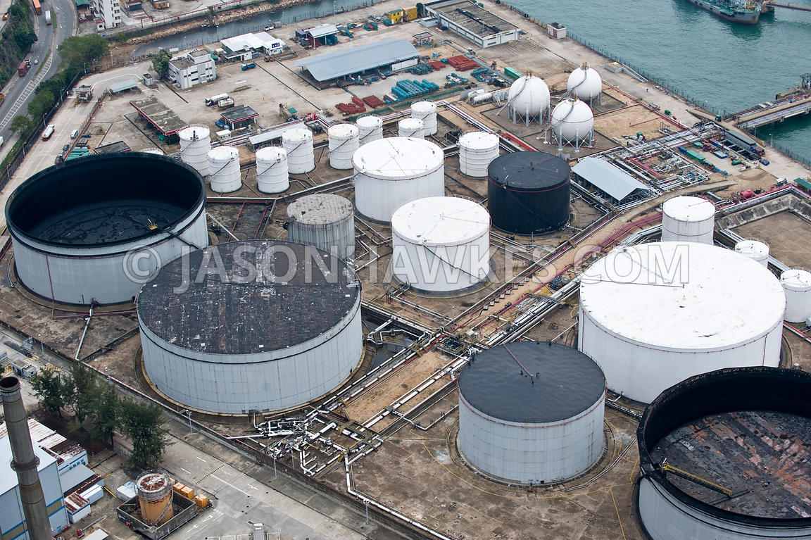 Aerial view of Oil, Gas terminal, Hong Kong