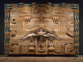 The Dance Screen by James Hart at the Audain Art Museum in Whistler BC. First nations and aboriginal artwork. Photo by Scott Brammer - coastphoto.com