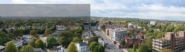 Panorama of the Hagley Road, Edgbaston, Birmingham, England