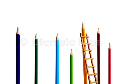 Set of color pencils with a ladder representing a conquest