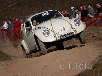 a VW Beetle driver happy to get to the top of the steep Blue Hills Section of the MCC Land's End Trials