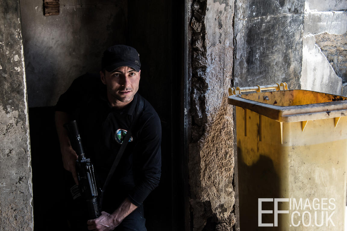 Checking recently liberated buildings in West Mosul for IEDs. June 2017
