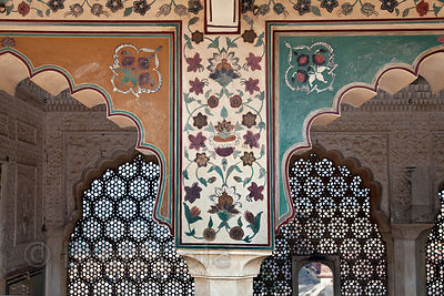 Painted arches at the Jaipur City Palace, Rajasthan, India