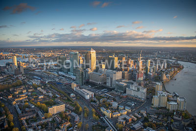 Aerial view of Canary Wharf  and West India Quay at dusk, London.