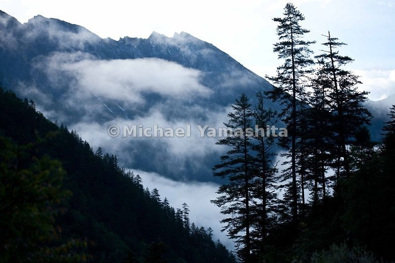 Jiuzhaigou in Spring. Pearl Shoals Falls at dawn / morning.