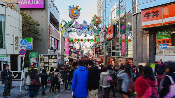 Medium Shot: Crowds At Harajuku Shopping District