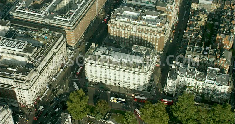 London Aerial Footage of Marble Arch with Oxford Street and Park Lane.