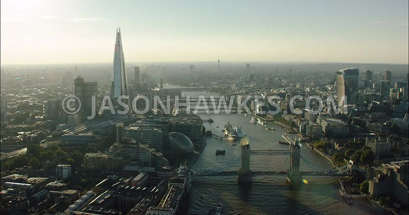 London Aerial Footage Tower Bridge to London Bridge