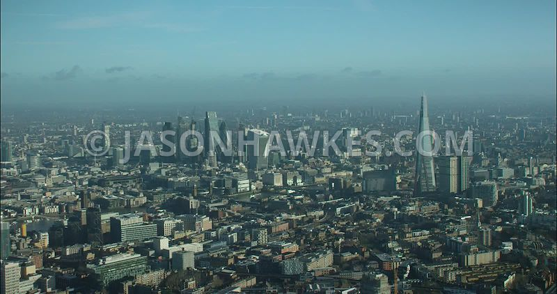 London Aerial footage, The Shard with Tate Modern, Borough.