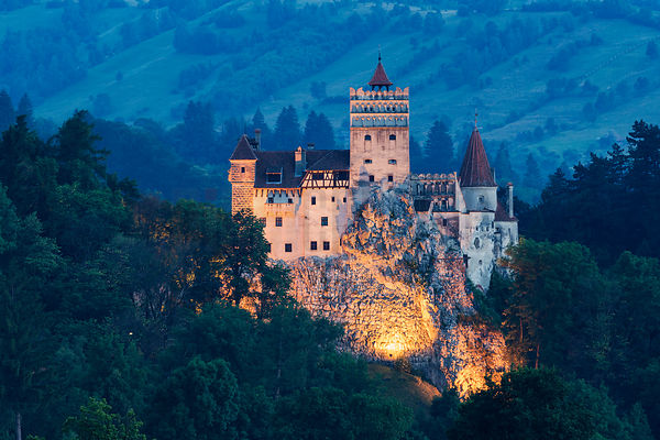 Elevated View of Bran Castle at Blue Hour
