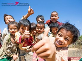 Happy asian children with thumbs up, Shan state, Myanmar