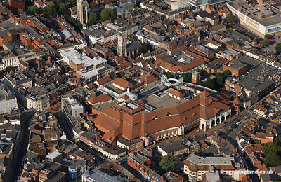 aerial photograph of Ipswich  Town Centre showing the area around the Buttermarket Shopping Centre
