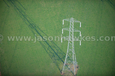 Aerial view of electricity pylons in fields, Worcestershire