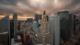 Bird's Eye: Dramatic Rushing Cloud Deck, Light Change, & Skyline Under A Setting Sun