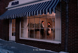 Allstate Insurance office late evening