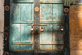 A wooden door with locks in Thimphu, Bhutan.