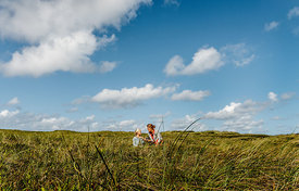 Danish woman and girl together in the dunes in Thy 6