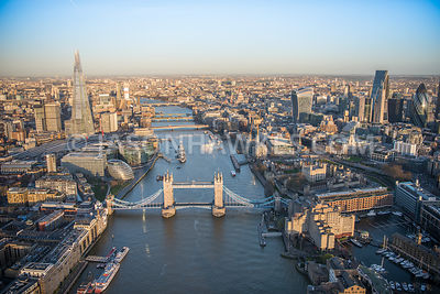 Aerial view of London, Tower Bridge with More London and Tower of London.