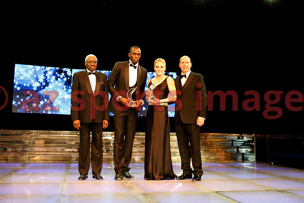 Lamine Diack, Usain Bolt, Sally Pearson and Albert II Prince of Monaco at the IAAF Gala Monaco - Athlete of the year event