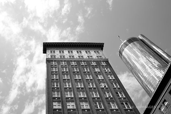 DOWNTOWN ATLANTA ARCHITECTURE BLACK AND WHITE