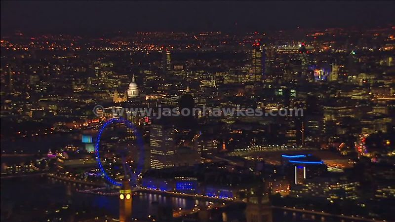 Aerial footage at night over the City of London Lambeth, London, England, UK