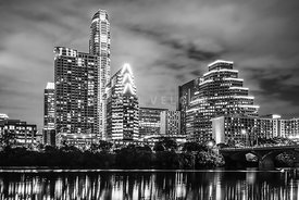 2016 Austin Skyline at Night in Black and White