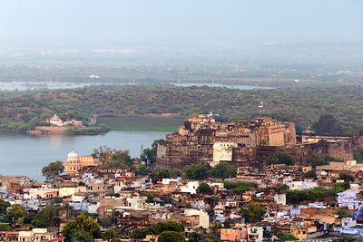 Elevated view of Gondulav Lake in Kishangarh, Rajasthan, India. The lake was once an important source of drinking water but is horribly polluted and considered unsafe for human use.