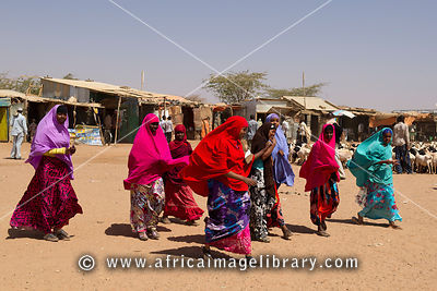 Colourfully dressed girls, Barao, Somaliland, Somalia