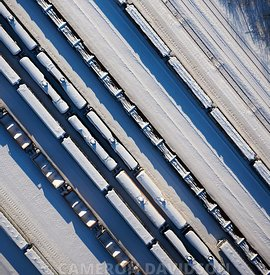 Aerial photograph of train cars near Point of Rocks, Maryland