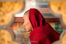 A young monk at Rinpung Dzong, also known as Paro Dzong in Paro District, Bhutan.
