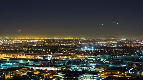 Wide Shot: Airliner Flight Path Dive Bombing Los Angeles