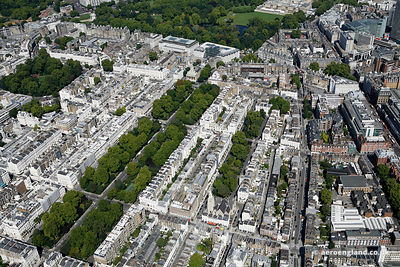 aerial photograph of Eaton Square Gardens.Belgravia London England UK showing Eaton Square, London SW1W 9AN , St Michael's Church Chester Square, London SW1W 9HH, Eaton Mews , Ebury Mews , Elizabeth St, SW1W 9PJ , Eaton Pl SW1X 8AL  and Ebury St, London SW1W 9QD