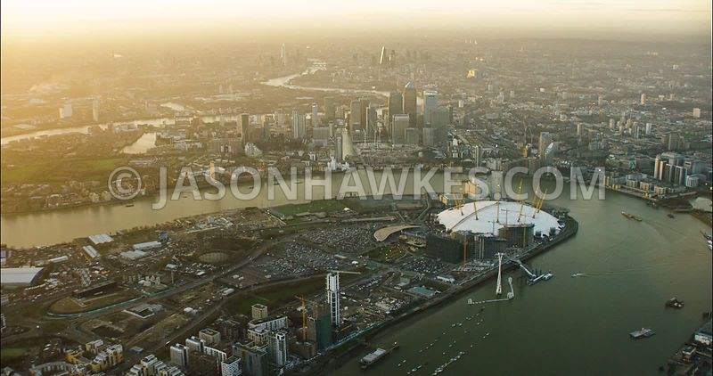 London Aerial Footage O2 Arena with River Thames.