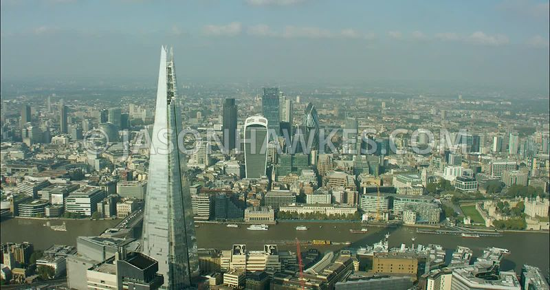 London Aerial Footage of The Shard with City of London skyline