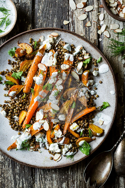 Carrot, lentils and beet salad with feta and herbed yogurt