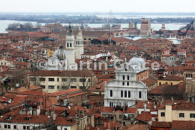 Looking east from The Campanile to the churches of San Giorgio dei Greci (left) and San Zaccaria (right), Venice, Italy